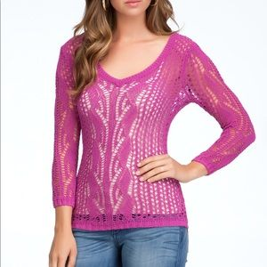 Bebe Long Sleeve V-Neck Pink Sweater